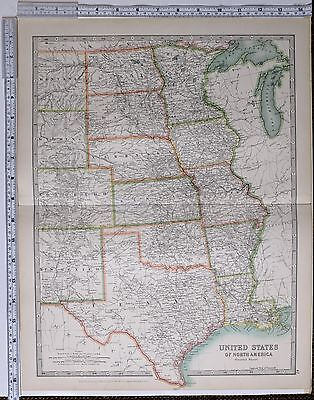 1915 Large Map United States North America Central Texas Kansas Nebraska Iowa