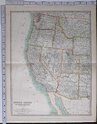 1915 Large Map United States North America West California Oregon Nevada Utah