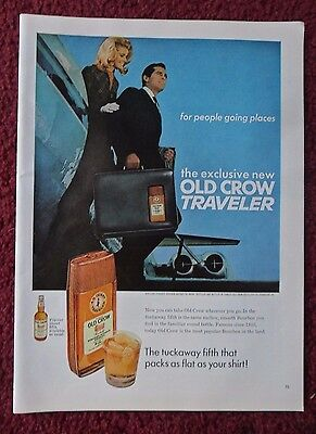 1968 Print Ad Old Crow Whiskey ~ Old Crow Traveler Suitcase The Tuckaway Fifth