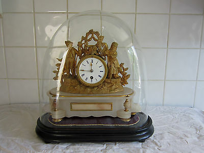 Wonderful French Spelter and Alabaster clock Under Dome  -Plantauer