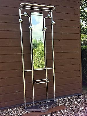 Vintage Art Deco French Polished Aluminium Coat Hat Umbrella Rack Stand Mirror
