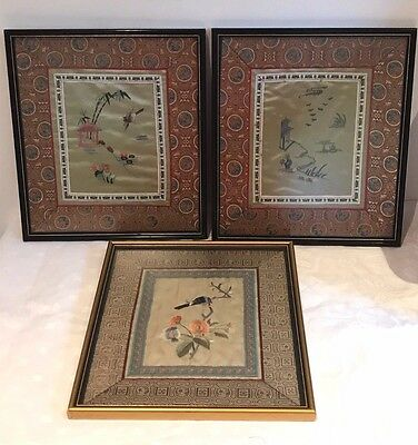 Beautiful Vintage Oriental Chinese/Japanese Silk Embroidered Fabric Picture Bird