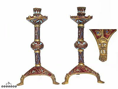 Limoges 19th Century Medieval / 13th Century Gilt Bronze & Enamel Candlesticks