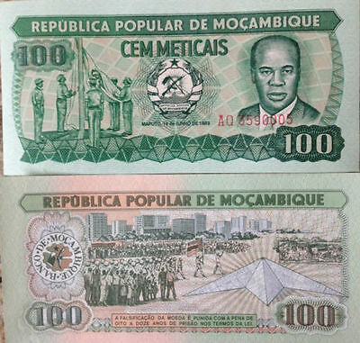 Mozambique 1983 100 Meticais Uncirculated Banknote P-130 Buy From A Usa Seller !