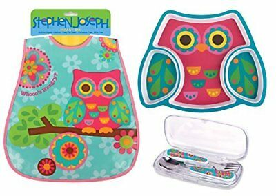Toddler Meal Gift Set Divided Plate Wipeable Bib and Silverware Set Owl Theme
