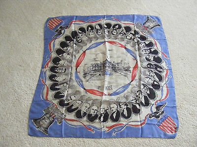 Vintage  White House Silk Scarf With Presidents Heads