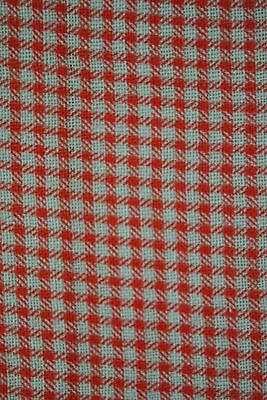 Antique Feedsack Cotton Fabric In Red & White Gingham Check Houndstooth Design