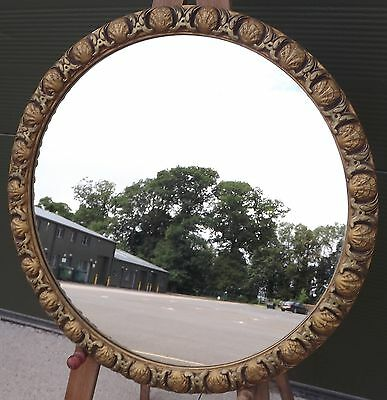 Lovely Vintage Decorative Gilt-Framed Circular Wall Mirror With Shell Motif