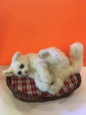 Authentic Real Fur Life Size White Playful Cat In a Wicker Basket Cute