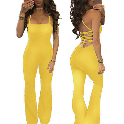 Women Clubwear Playsuit Sleeveless Jumpsuit Romper Trouser Pants Yellow XL CHC08