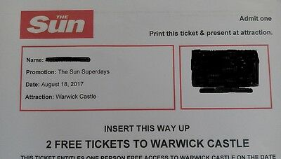 2 Warwick Castle Tickets for Aug 18th