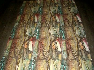 Vintage 40s 50s abstract twigg straw type print cotton fabric curtain