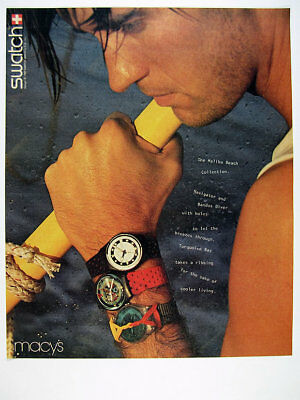1987 Swatch Navigator Bandos Diver & Turquoise Bay Watches vintage print Ad