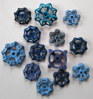 Lot of 14 BLUE Vintage Water Valve Handles Knobs Steampunk Art