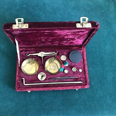 Vintage Boxed Apothecary Jeweler Scales with Weights