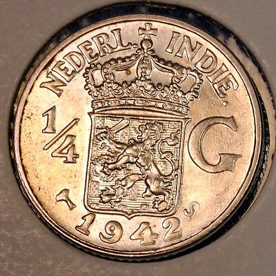 1942 SILVER 1/4 Gulden, Netherlands East Indies - Catalog KM#319
