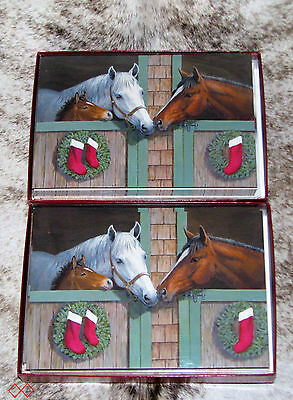 LEANIN TREE Horses and Foal at Stable Doors w/ Wreaths~20 total Christmas cards