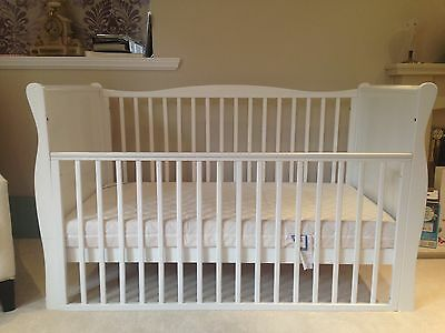 White sleigh cot bed Kiddicare & Mamas and Papas mattress