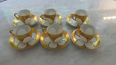 Antique Gilded Delicate Porcelain Demitasse Cups and Saucers - French or German?