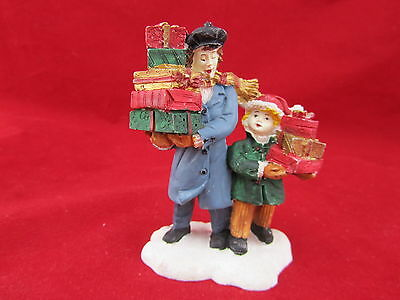 Mervyn's Christmas Village Square Figurine - Father and Son With Gifts 1991