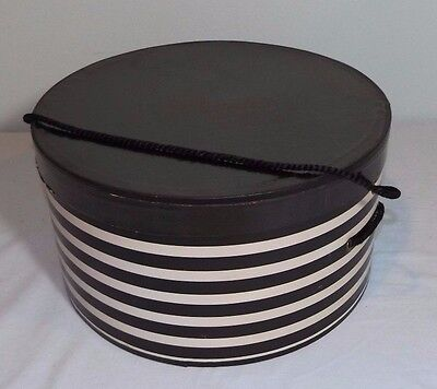 VTG Bauder Finishing School White Stripe w Black Lid Round Cardboard Hat Box 12""