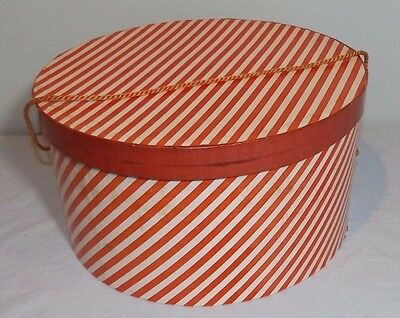"VTG Red &White Striped Round Cardboard Hat Box 12.5"" x 6.5"""