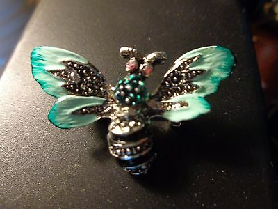 Enamel Bee Pin Two Toned Green Wings Marcacite And Pink Eyes