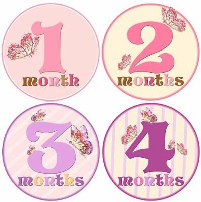 Baby Girl Monthly Milestone Stickers 1-12 Months by Mumsy Goose, New