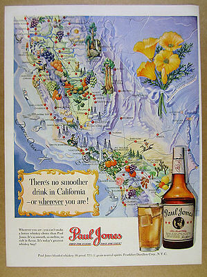 1950 California Map cities towns landmarks Paul Jones Whiskey vintage print Ad