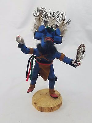 Whipper Kachina Native American Hand Carved Painted Signed JHY Sculpture Figure