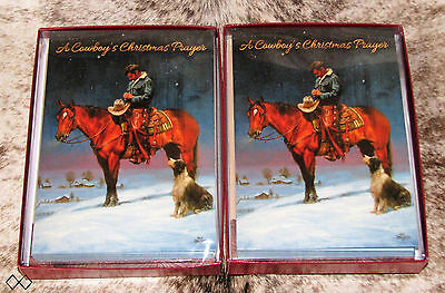 LEANIN TREE A Cowboy's Christmas Prayer on Horseback~20 total Christmas cards