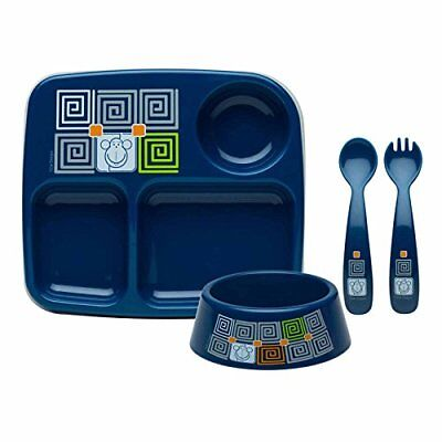 Zak Designs Toddlerific Mealtime Set with Plate Bowl Fork and Spoon with Blue Mo