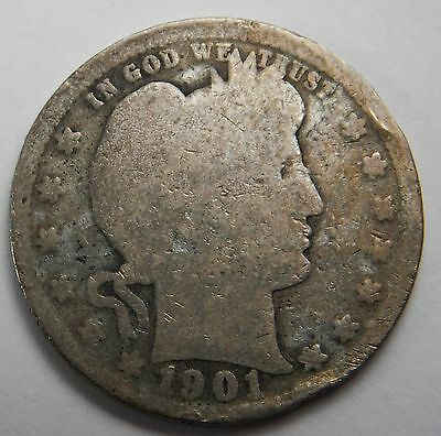 1901 S 25C Barber Silver Quarter Very Rare Key Date Nice Even Wear & Tone 327