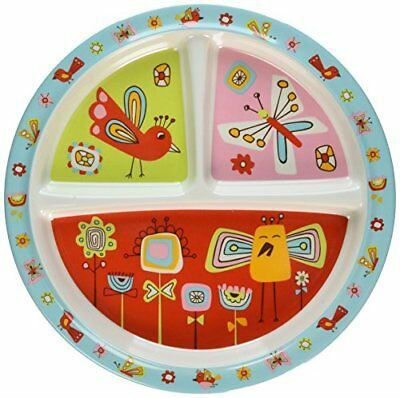 Sugarbooger Divided Suction Plate Birds & Butterflies Baby Dinnerware Or Baby Di