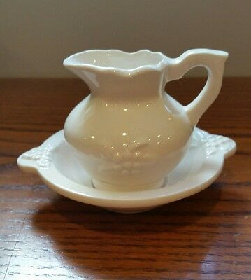 """Miniature White Porcelain Bowl or Basin and Pitcher: DOLLHOUSE 3"""" Tall"""