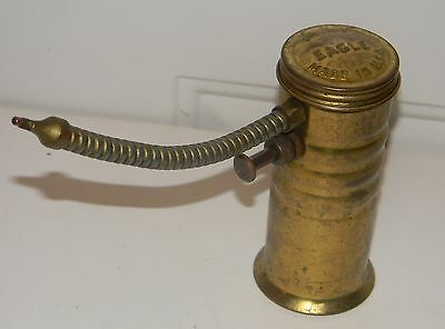 Vintage No. 66 EAGLE Made in U.S.A. Brass Pump Style Oiler / Oil Can Excellent