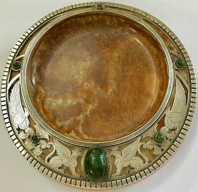 Egyptian Revival Antique Silver And Onyx Round Tray Sphinxes And Scarab Beetle
