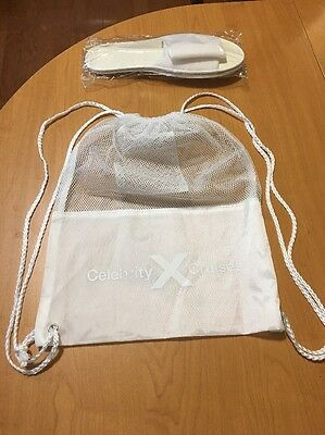 """CELEBRITY CRUISE LINES WHITE SPA / BATHROOM SLIPPERS LARGE 11"""" LENGTH & Backpack"""