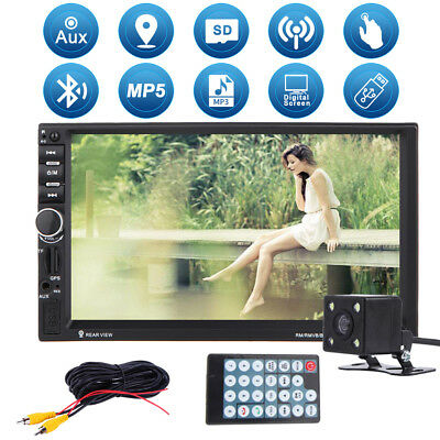 "7"" HD Double 2 DIN Car Stereo Touch MP3 MP5 Player Bluetooth Radio GPS + Camera"