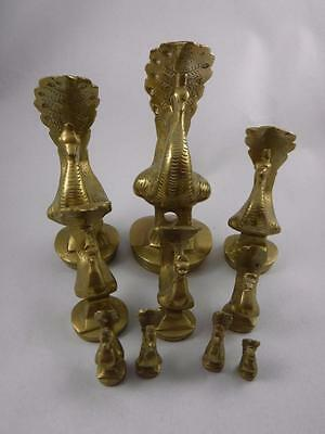 Opium Weights Polished Brass Peacock Set of 10 weights 636 to 8 grams Burmese
