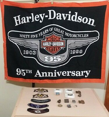 """95th Harley Davidson anniversary flag 39x28"""" Harley patches & pins lot of 19"""