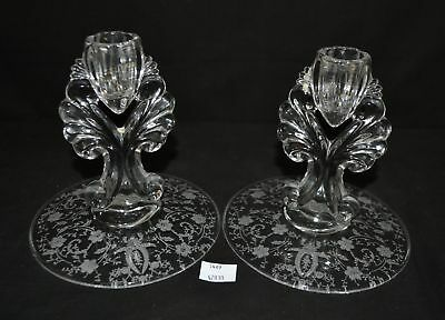 ThriftCHI ~ Fostoria Glass Candle Stick Holders (2)