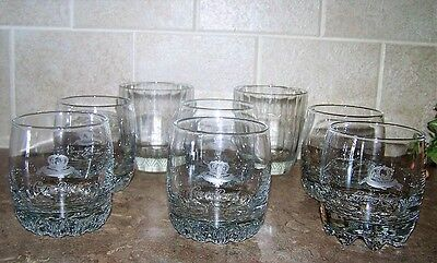 Lot 8 Crown Royal Etched Glass Low Ball Rocks Glasses Italy Weighted Bottoms