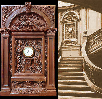 RMS TITANIC Grand Staircase Clock-White Star Line-w/architectural surround