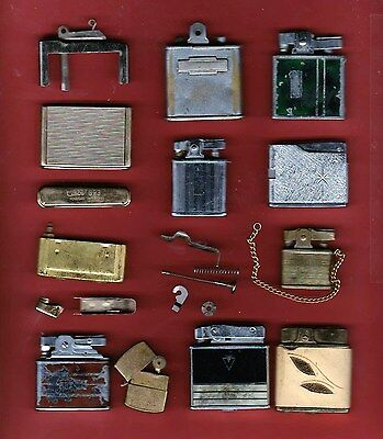 Mixed, used, Lot of 20 pieces of Vintage Cigarette Lighters for Repair or Parts
