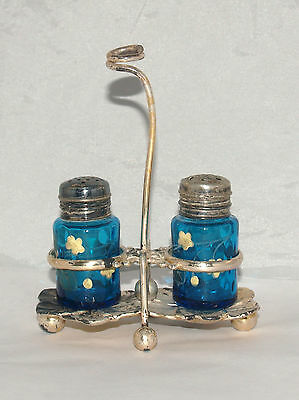 Antique Victorian Blue Inverted Thumbprint Glass Salt Pepper Condiment Set