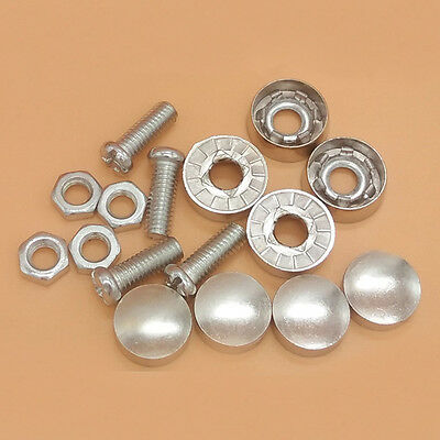 a set Chrome License Plate Frame Security Screw Bolt Caps Covers For Car Truck
