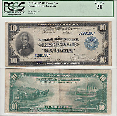 1915 $10 Federal Reserve Note Kansas City F-816  PCGS Very Fine-20