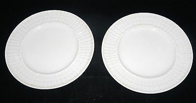 Pair 2 Belleek Irish Parian Porcelain Plate Tridacna Limpet Pattern Black Mark