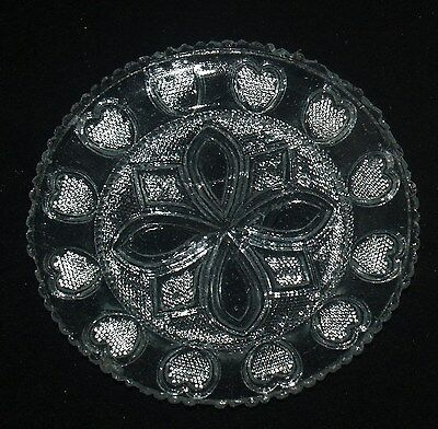 Antique Sandwich American Glass Cup Plate Lee 455A Heart Group